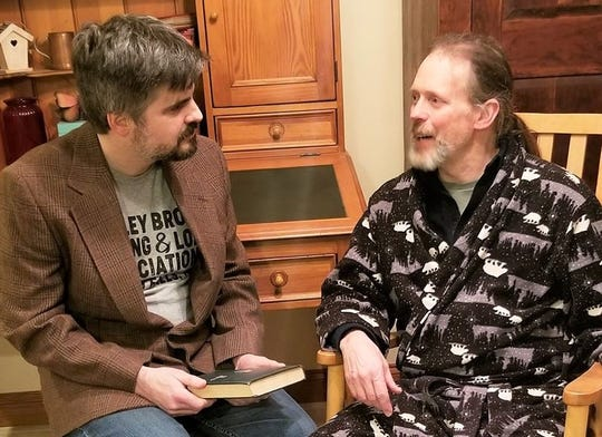 Zach Lulloff (left) as Mitch and Bill Fricke as Morrie in 'Tuesdays with Morrie' at Forst Inn.