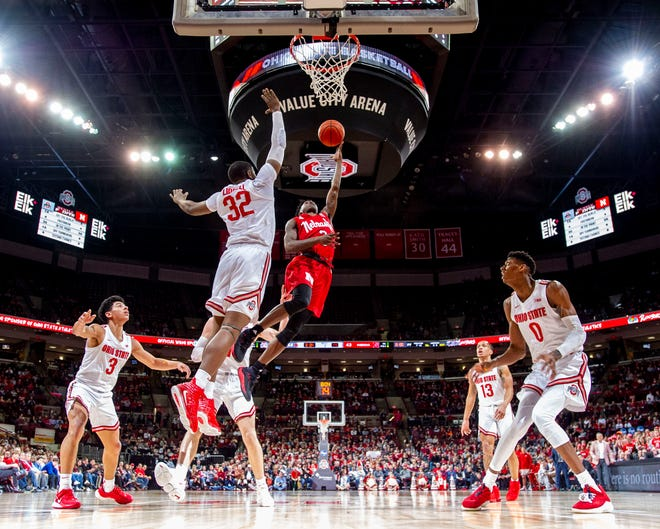 Ohio State freshman E.J. Liddell (32) defends the rim in a game against Nebraska earlier this season. The Buckeyes will face Purdue Thursday in the Big Ten Men's Basketball Tournament.
