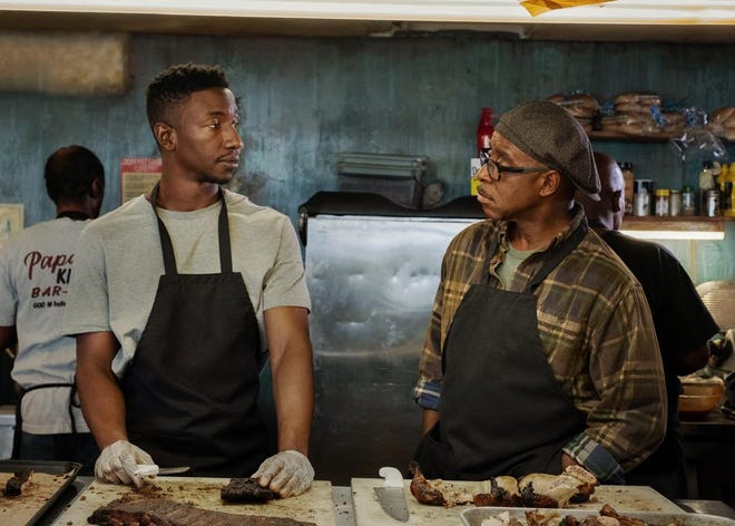 """Mamoudou Athie and Courtney B. Vance star as a son and a father in conflict over the family's """"historic"""" barbecue restaurant in the made-in-Memphis Netflix movie """"Uncorked."""""""
