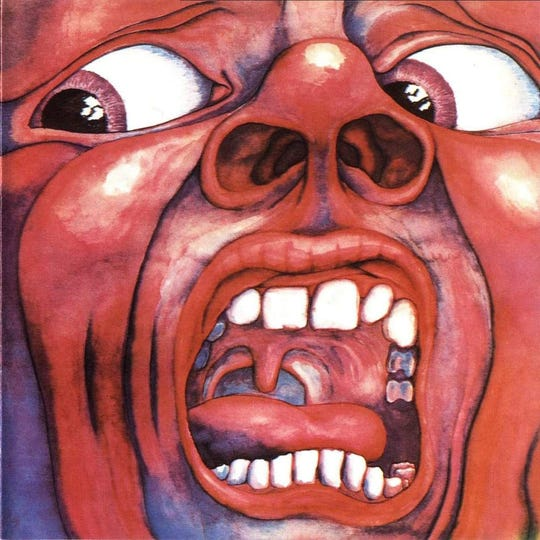 """If you're the right age, you know this album cover, even if you don't know the music: King Crimson's """"In the Court of the Crimson King"""" (1969)."""