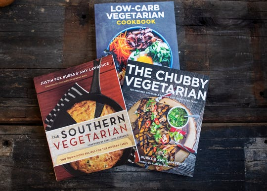 "Justin Fox Burks and Amy Lawrence cookbooks ""The Chubby Vegetarian"", ""Low Carb Vegetarian"" and ""The Southern Vegetarian"" on Friday, March 6, 2020."