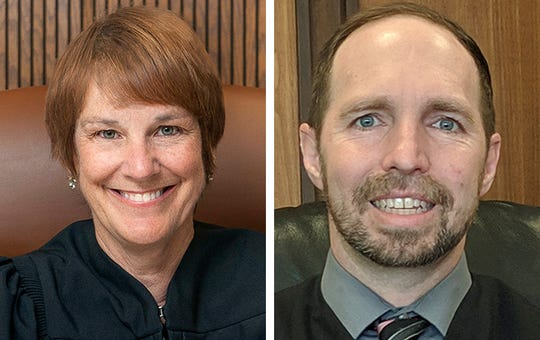 Appeals Court Judge Lisa Neubauer, left, and Waukesha County Circuit Judge Paul Bugenhagen, right