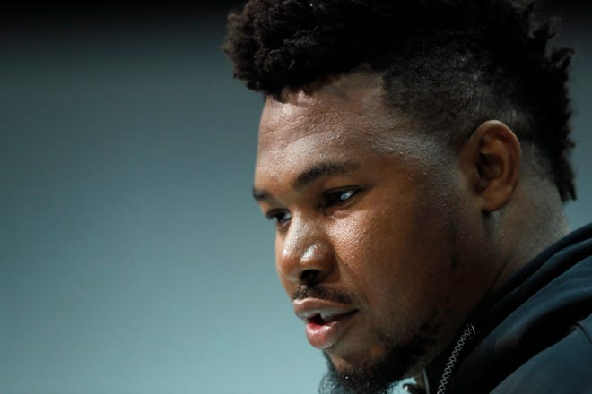 Auburn offensive lineman Prince Tega Wanogho speaks at the NFL Combine in Indianapolis, Wednesday, Feb. 26, 2020.