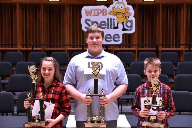 Winners of the 2020 WIPB-TV Spelling Bee on March 7 were first runner-up Georgia Davis, champion Andrew Toney ​​​​​​​and second runner-up Clark Wellman.