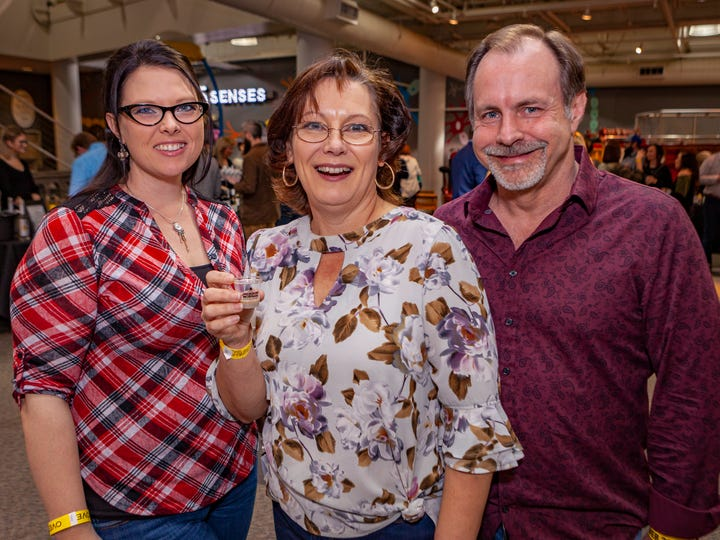 Jessica, Denise and Bruce Reed at the seventh annual Wine & Whiskey at the Wetlands, Friday, March 6, 2020 at Discovery Center at Murfree Spring.