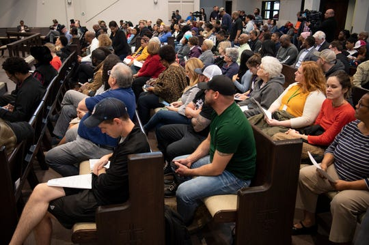 North Nashville homeowners fill the sanctuary at The Equity Alliance's #DontSellOutNorf Homeowners Meeting at Lee Chapel AME Church Monday, March 9, 2020 in Nashville, Tenn.