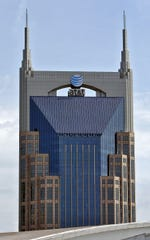 """A view of the AT&T Building in Nashville, commonly known as the """"Batman Building."""""""