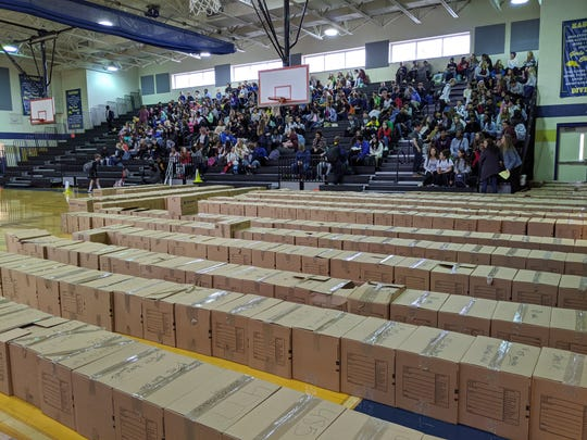 Boxes line the gym at the Gra-Mar Middle School filled with the contents of Meigs Academic Magnet students' lockers on March 9, 2020 in Nashville, Tennessee. Meigs was damaged by a March tornado and students will need to attend Gra-Mar for the rest of the year.