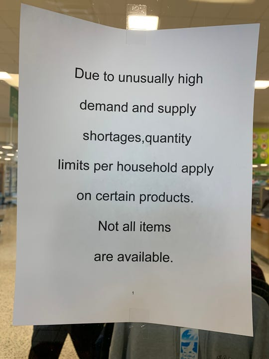 This sign was found posted at the Publix at the Pine Ridge Crossing Shopping Center on Monday, March 9, 2020.