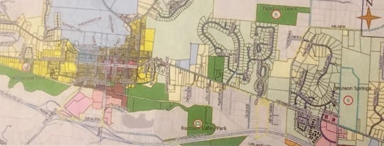 Present Granville park locations (in green) in relation to proposed Munson Springs Preserve.
