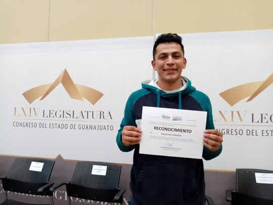 Yovany Diaz Tolentino, is a former DACA recipient, who now lives in San Miguel, Mexico. He left the United States in 2015 after not being able to afford to pay for college or his DACA renewal. He completed a certificate program earlier this year to teach English..