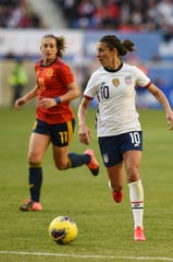 USA forward Carli Lloyd (10) looks for an opening against Spain in the first half during the 2020 SheBelieves Cup at Red Bull Arena in Harrison on 03/08/20.