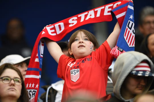 A young fan cheers for USA team as USA plays against Spain in the first half during the 2020 SheBelieves Cup at Red Bull Arena in Harrison on 03/08/20.