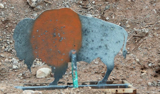 The Betsy Buffalo target on the 360 yard rifle range at the Sidney Paul Gordon Shooting Range in La Luz.