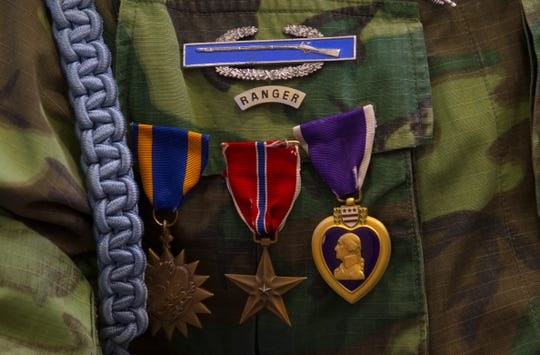 Nelson Joe's medals is pictured on Sept. 21, 2017 during a Vietnam Veterans Pinning Ceremony at Navajo Technical University in Crownpoint.