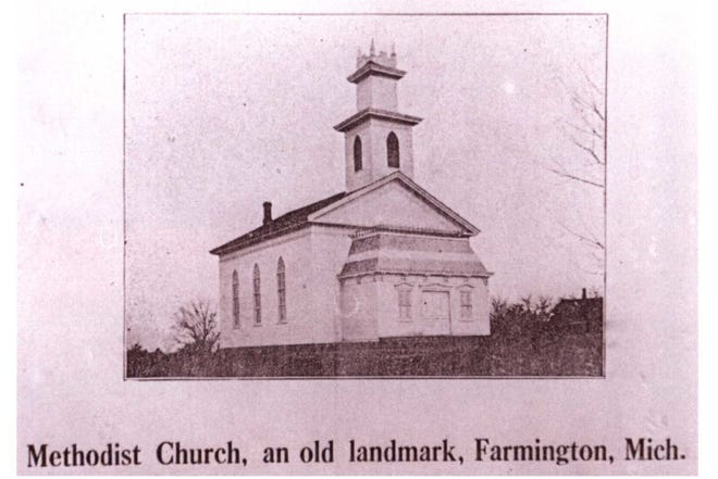 "This building was home to the Farmington's Methodist Church on ""Shiawassee Hill"" at Shiawassee and Warner Streets, until it burned down in 1920."