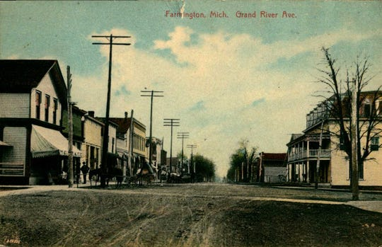Grand River Avenue, looking east from present-day Farmington Road, circa 1910, long before the road was paved and widened.