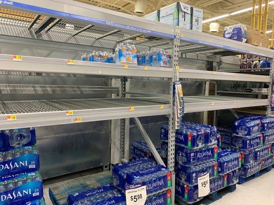Walmart Neighborhood Market in Palm Desert runs low on water Monday, March 9, 2020.