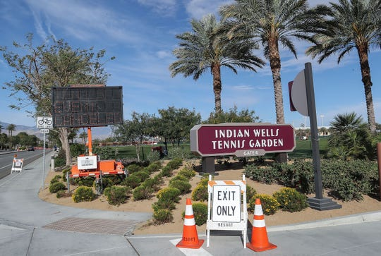 A sign informs the public about the cancellation of the BNP Paribas Open on the grounds of the Indian Wells Tennis Garden, March 9, 2020.  The tournament was canceled because of the coronavirus.