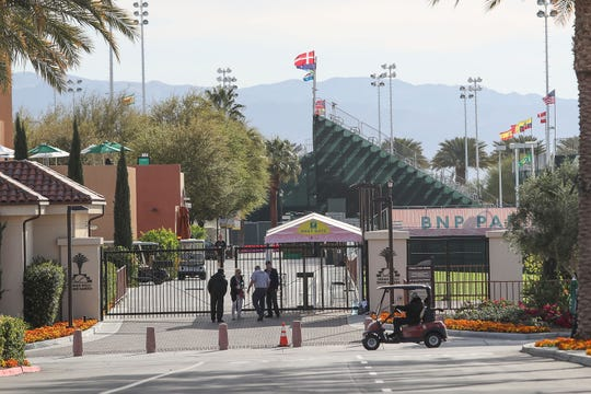 The Indian Wells Tennis Garden sits mostly empty after the BNP Paribas Open was canceled, March 9, 2020.  The tournament was canceled because of the coronavirus.