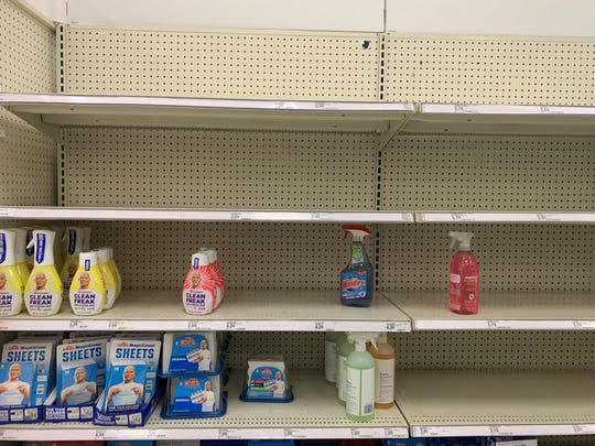 Cleaning supplies are in low stock at Target in Palm Desert Monday, March 9, 2020.