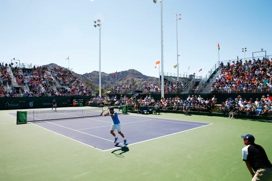 Steve Johnson plays Jack Sock in the men's final during the Oracle Challenger Series at the Indian Wells Tennis Garden on Sunday March 8, 2020 in Indian Wells, California.