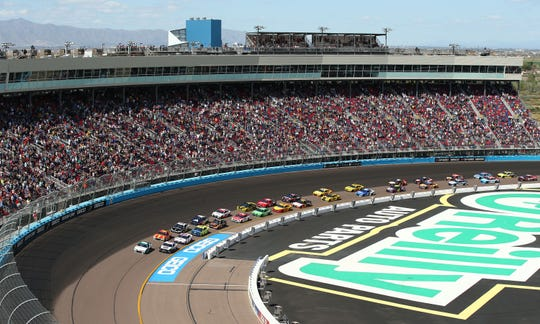 The race cars approach the start line during the FanShield 500 at Phoenix Raceway on Mar. 8, 2020 in Avondale, Ariz.