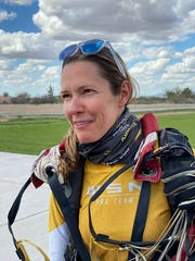 Sara Curtis, a professional skydiver, is the only woman running for a seat on the all-male Eloy City Council.