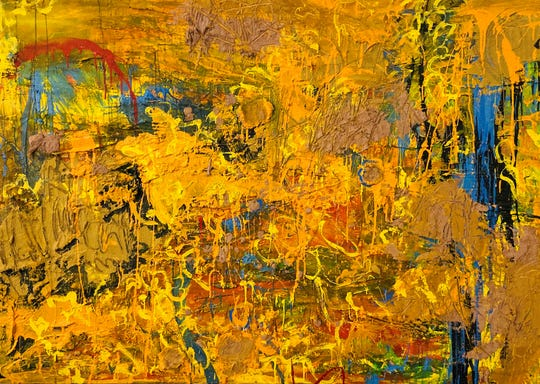 """The painting """"Del Fornu"""" shows Maria Lago's expressionistic use of color and materials."""