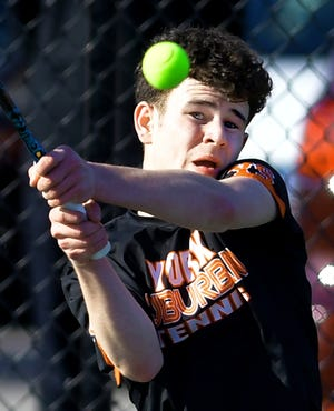 York Suburban's Parker Lando returns against West York's Augie Citrone in their top-seeded match at West York Monday, March 9, 2020. Bill Kalina photo