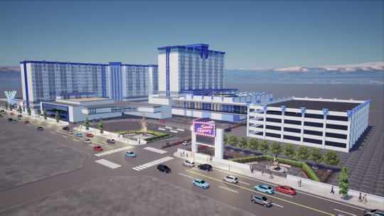 Rendered images of the planned Sands Regency hotel-casino remodel as part of the Reno Neon Line project.