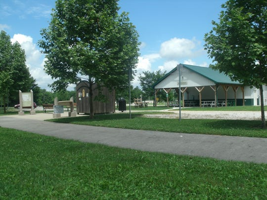 Williamsburg's rails-to-trails bicycle trailhead station is for the rest and recreation of local bicyclers; it has a shelter for picnicking where people can replenish with food and fluids, an air hose for tires, a bike rack with tools and a convenient outdoor privy for quick relief.