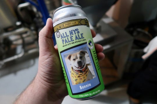 Bonnie is one of 12 dogs featured on the Brindle Haus/Verona Street Animal Society beer cans.