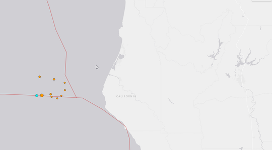 A screen shot of the location of the 10 earthquakes that hit off the coast of Humboldt County on Sunday night, March 8, 2020.