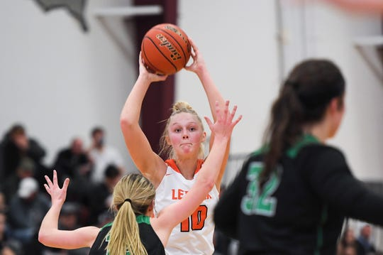 Lennox's Madysen Vlastuin (10) looks to make a pass during the SoDak 16 game against Miller on Monday, March 9, 2020 at Madison High School.