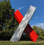 X Marks the Spot by Alex Mendez is one of the 2020 Sioux Falls SculptureWalk pieces.