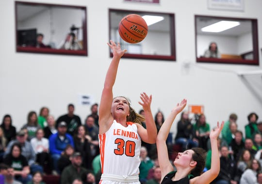 Lennox's Rianna Fillipi (30) goes up for a shot during the SoDak 16 game against Miller on Monday, March 9, 2020 at Madison High School.