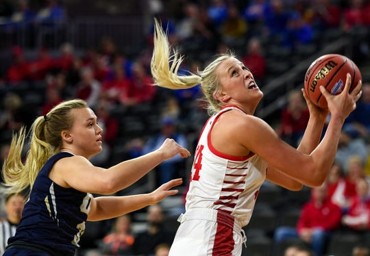 USD's Hannah Sjerven prepares to make a layup while guarded by Oral Roberts' Keni Jo Lippe during the Summit League tournament semifinals on Monday, March 9, at the Denny Sanford Premier Center in Sioux Falls.