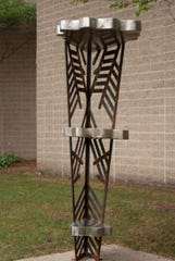 Coalesce by Hanna Seggerman is one of the 2020 Sioux Falls SculptureWalk pieces.