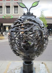 Sprout and Shard by Mark Hall is one of the 2020 Sioux Falls SculptureWalk pieces.