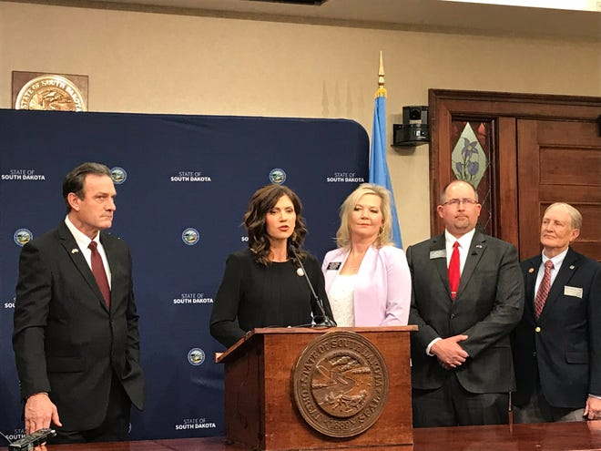 Gov. Kristi Noem announced a funding deal on Monday for state employees and a hemp program, among others.