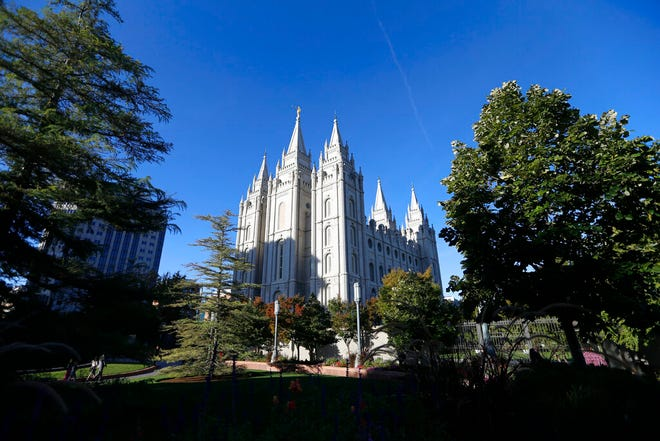 This Oct. 5, 2019 file photo shows, the Salt Lake Temple at Temple Square in Salt Lake City. The Church of Jesus Chris of Latter-day Saints' largest investment fund had nearly $38 billion in stocks and mutual funds at the end of 2019, according to a filing that sheds new light on the faith's finances. (AP Photo/Rick Bowmer, File)