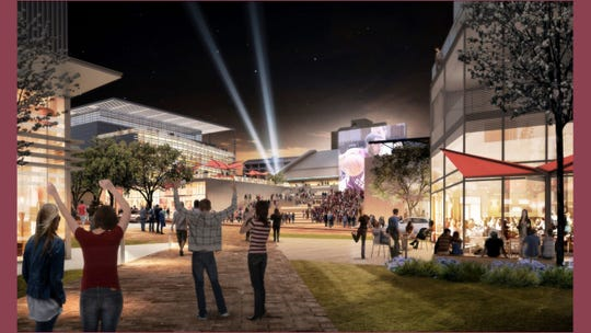 An artist's rendering of the finished Arena District, a project within Tallahassee's urban core.