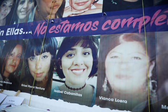 Isabel Cabanillas is among the victims pictured on a poster at a protest in Juárez against femicide Monday at a Chihuahua agency that investigates crimes against women. Cabanillas was shot and killed in January.