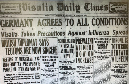 Visalia and Tulare County were not immune to the 1918 influenza pandemic that killed 50 million world wide.