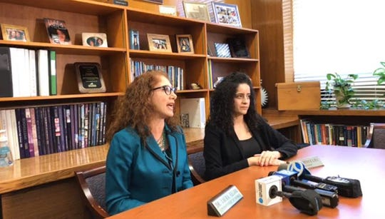 New Rochelle schools Superintendent Laura Feijoo and school board President Amy Moselhi discuss possibility of extended school closing raised by the governor, March 9, 2020.