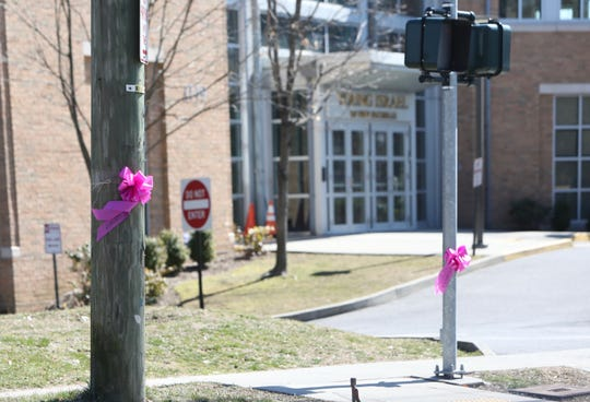 Ribbons outside of Young Israel In New Rochelle March 9, 2020.