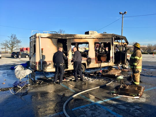 Less than a month after a propane tank was blamed for the deaths of four homeless people in Stanton, fire officials believe a propane tank may have caused a Monday morning fire in New Castle that destroyed the RV a homeless family was living in.