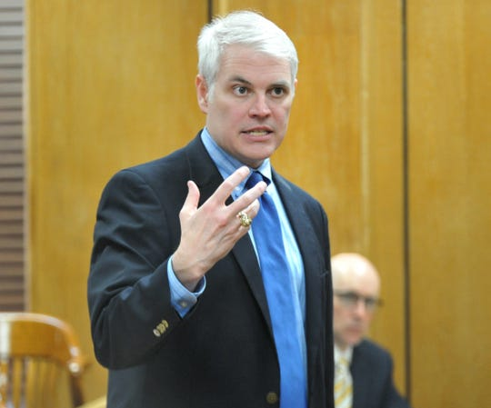 Wichita County District Attorney John Gillespie talks to a group of potential jurors March 9 during the jury selection portion of Jermar Fuller's capital murder trial in 30th District Court.  Fuller is accused of murdering William Rankin and David Phillips in October 2016 at a house on the city's north side.