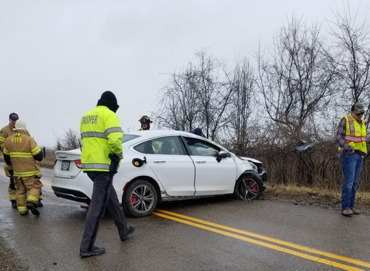 Multiple emergency personnel responded to a single-vehicle crash on Ridge Road near Lent Road Friday afternoon. The driver of the vehicle was arrested for OVI.